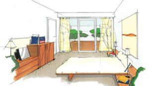 Blik van de slaapkamer ni het patio