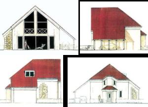 Nr. 1231, vier aanzichten van een zadeldakhuis, waarbij de voorwaarden voor een passiefhuis ideaal zijn uitgevoerd.