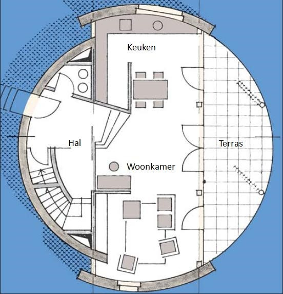plattegrond begane grond rond huis